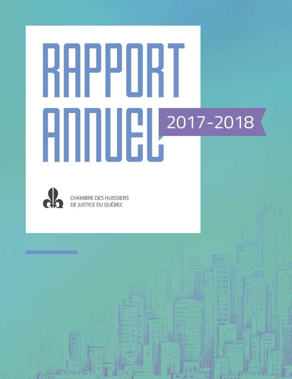 Graphisme du rapport annuel de la Chambre des huissier du Québec