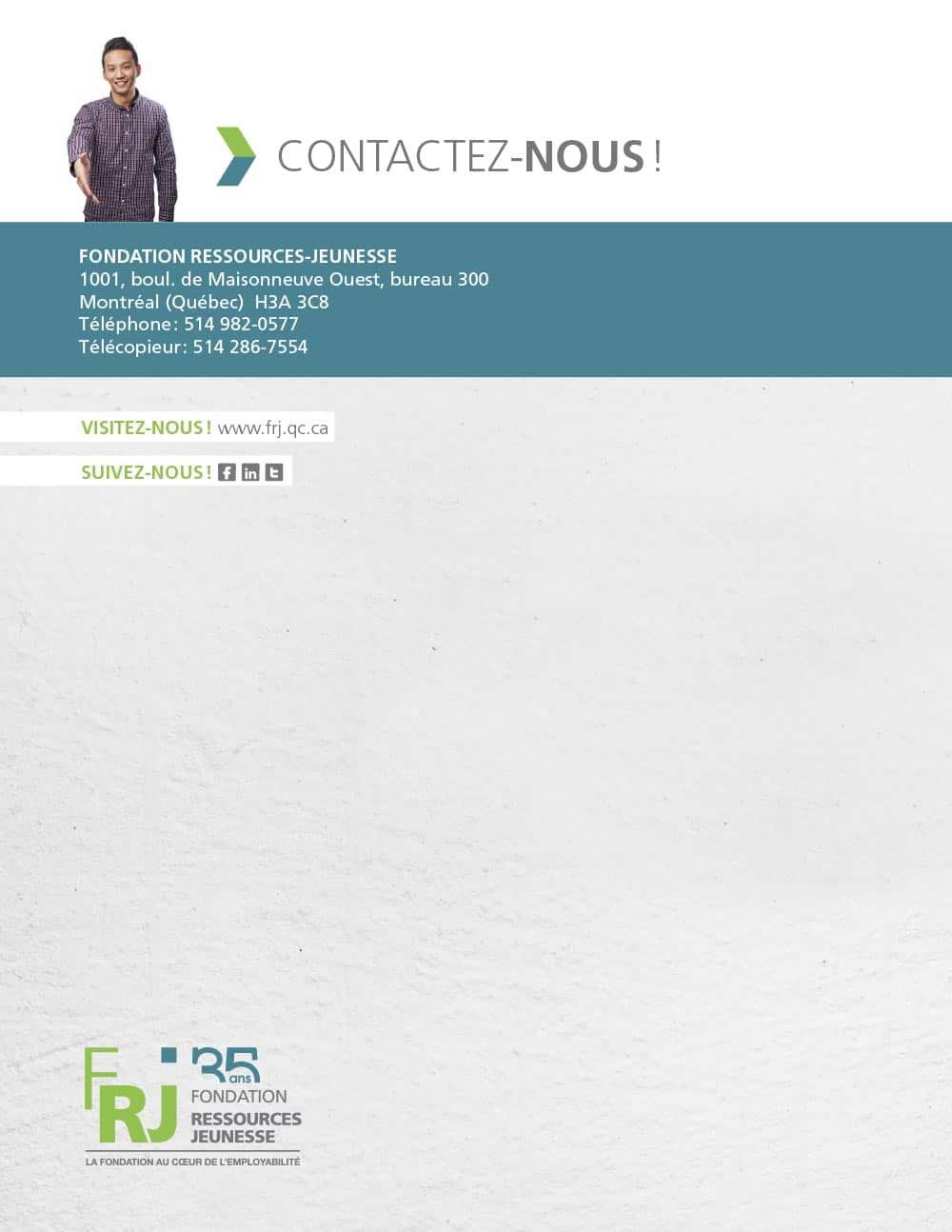 graphisme du rapport annuel de la Fondation Ressources Jeunesse 2014-2015