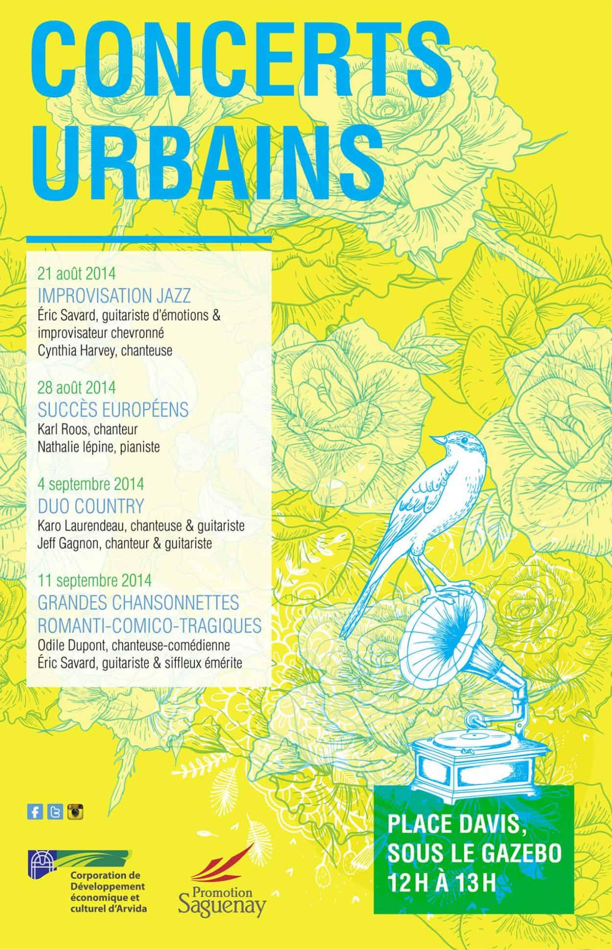 Affiche des concerts urbains (graphisme) Jonquière