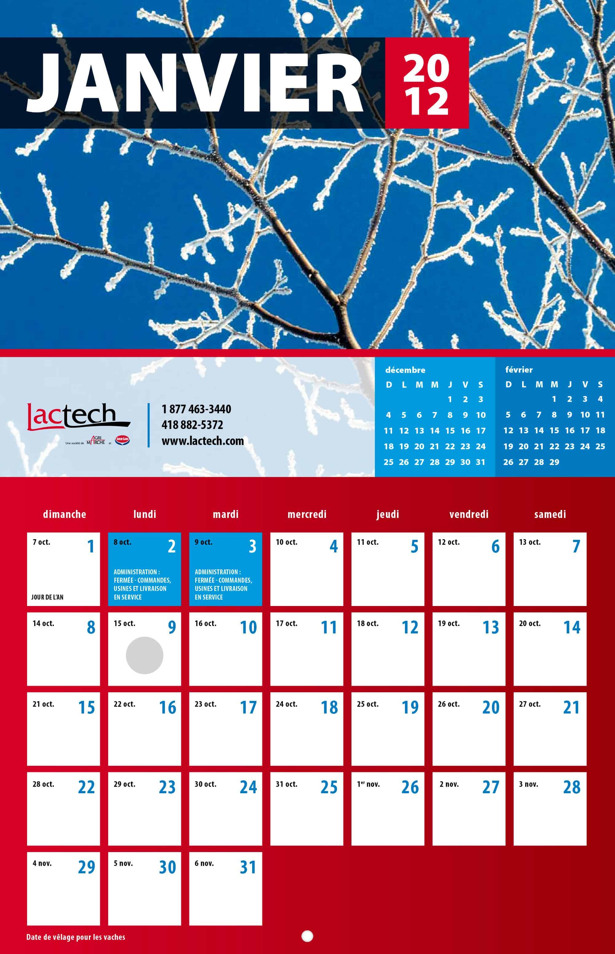 Calendrier 2012 pour Lactech